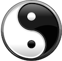 Yin Yang symbol is depicted in black and white.