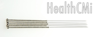 Image of a 1 inch filiform needle made of stainless steel with wound handle.